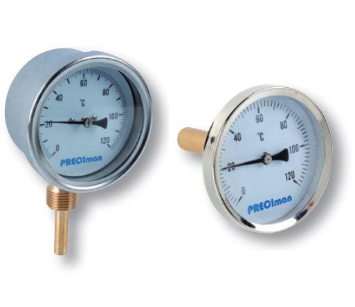 Thermomètre bimétallique axial et vertical avec doigt de gant