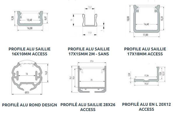 Accessoires rubans LED (profilés, clip de fixation, capsule de finition...)