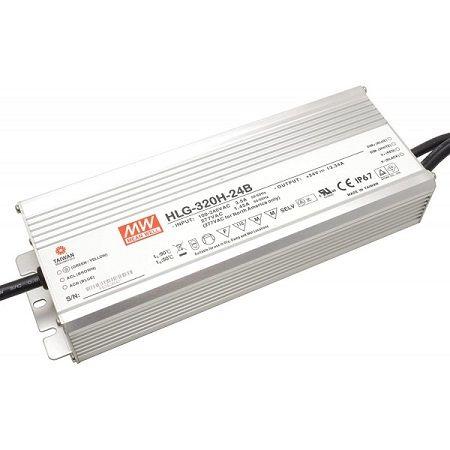 Driver MeanWell 24VDC 320W IP67 DIM 1-10 Alu - HLG-320H-24B