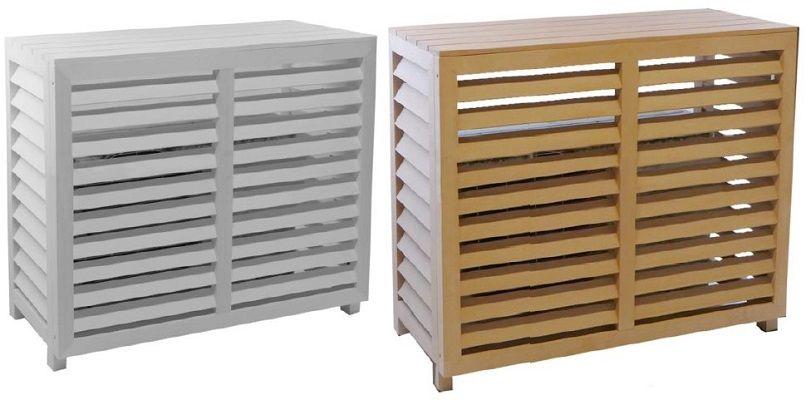 Cache de climatisation composite blanc et teck, medium et large