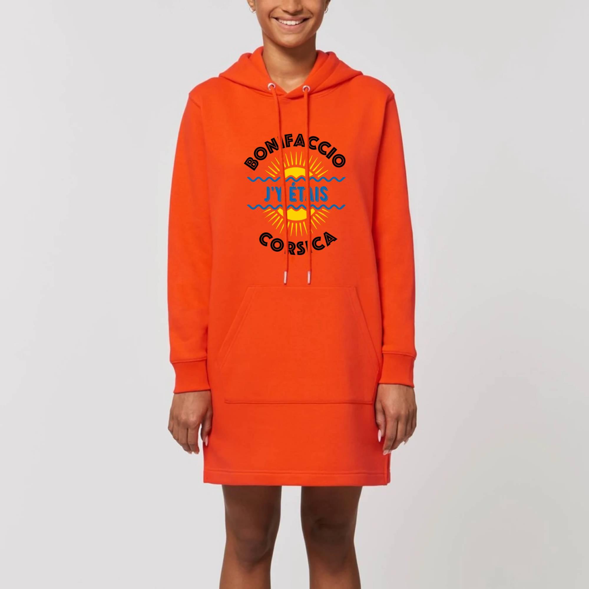 Robe Sweat capuche poche kangourou manches longues noir ou orange