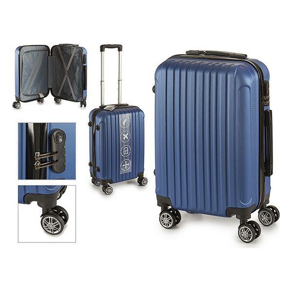 Valise cabine ABS Bleu à roulettes doublées