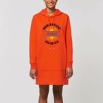Robe femme Sweat à capuche avec poche kangourou manches longues en 2 coloris orange