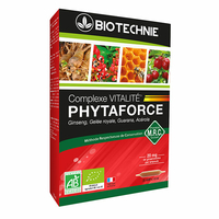20 ampoules bio Ginseng, Gelée Royale, Guarana, acerola : Phytaforce BIO