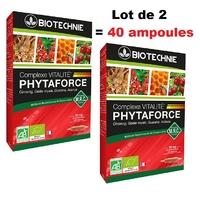 40 ampoules bio Ginseng, Gelée Royale, Guarana, acerola : Phytaforce BIO
