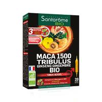 Santarome Bio Maca 1500 Tribulus Ginseng Gingembre Bio Tonus Sexuel 20 Ampoules