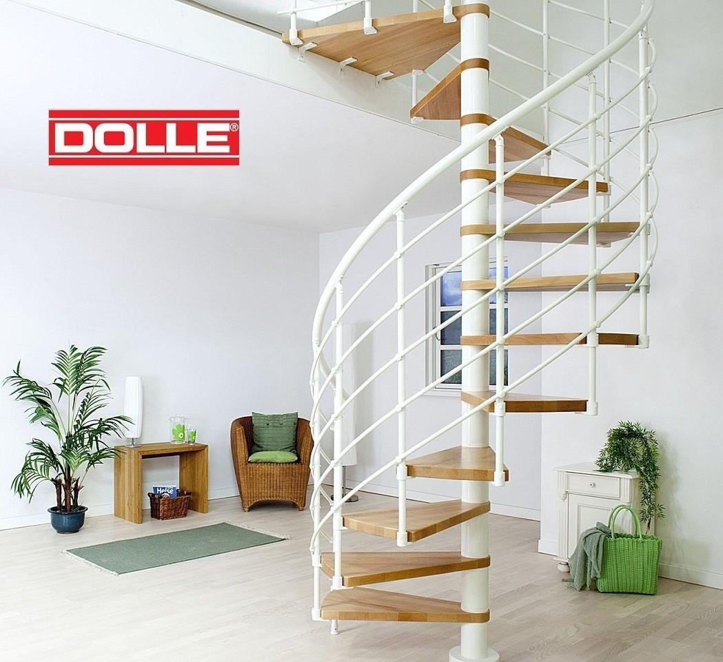 Escalier h lico dal en acier blanc et h tre dolle oslo 160 cm for Comescalier helicoidal acier