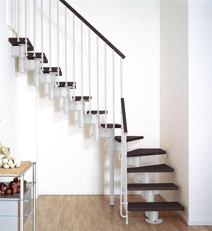 Escalier quart tournant ark kompact en m tal et h tre massif escaliers qua - Largeur escalier colimacon ...