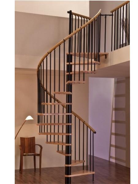 escalier h lico dal minka en acier noir et h tre massif 120 cm en vente sur escalier colimacon. Black Bedroom Furniture Sets. Home Design Ideas