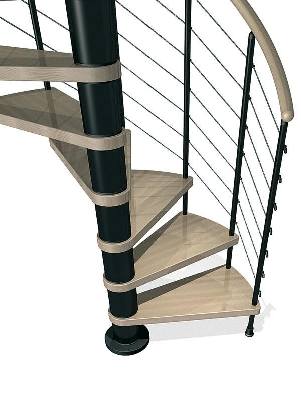 escalier h lico dal ark klo en acier blanc et h tre 120 cm. Black Bedroom Furniture Sets. Home Design Ideas