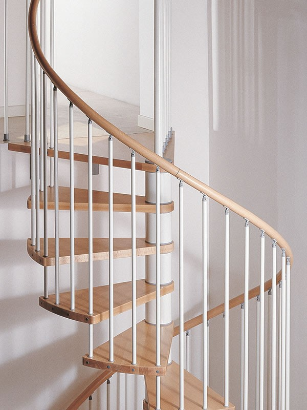 escalier h lico dal ark klan en acier gris h tre marron 120 cm. Black Bedroom Furniture Sets. Home Design Ideas
