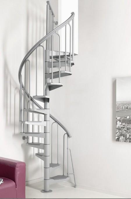 Escalier colima on h lico dal acier gris fontanot af26 100 cm - Escalier colimacon acier ...