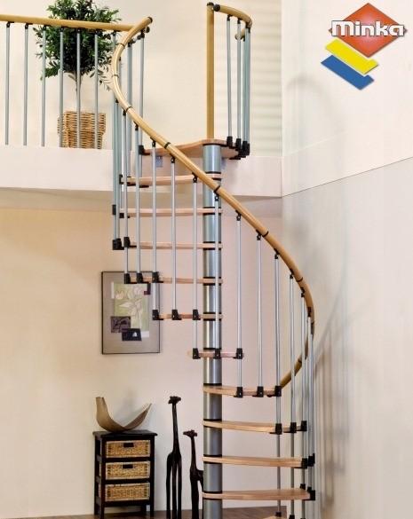 Escalier en colima on minka wave en m tal et bois 140 cm for Comescalier colimacon metal