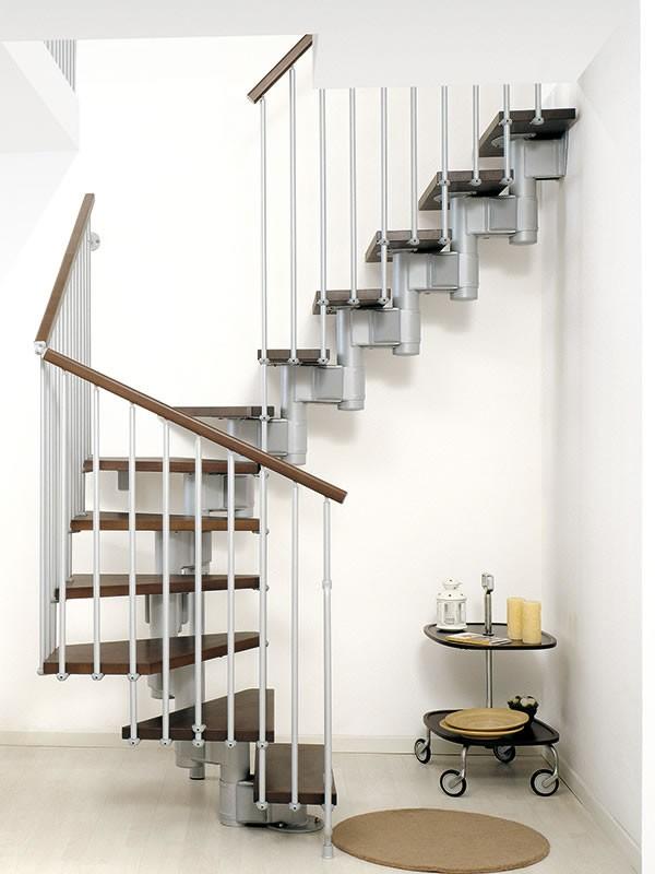 Escalier double quart-tournant Arkè Kompact acier et hêtre massif