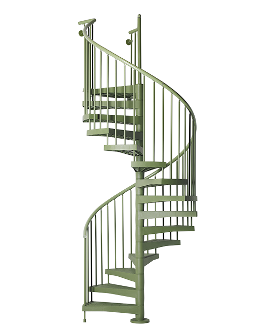 Escalier d 39 ext rieur en colima on fontanot techne vert for Escalier colimacon exterieur en kit