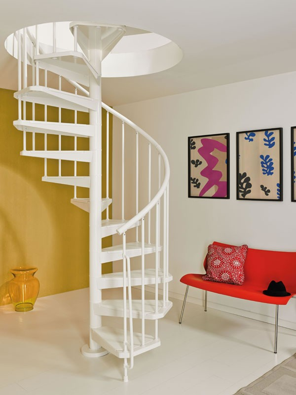 escalier en colima on en acier blanc magia 50 110 cm. Black Bedroom Furniture Sets. Home Design Ideas
