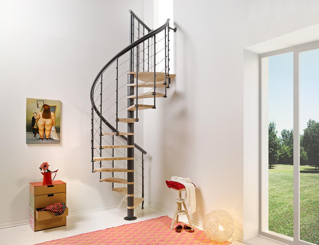 Barriere Escalier En Colimaçon escalier en colimaçon en acier et hêtre fontanot nice line Ø 130 cm