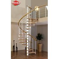 Escalier en colimaçon Minka Venezia main courante en hêtre massif Ø 160 cm