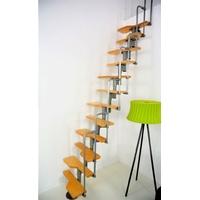 Escalier gain de place en acier et bouleau Minka Münich