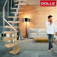 Escalier gain de place en acier et hêtre Dolle Rome