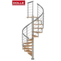 Escalier en colimaçon en acier et chêne Dolle Montreal 10 Ø 140 cm