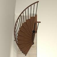 Escalier semi-hélicoïdal en acier noir et bois Fontanot Tulip Ø 168 cm