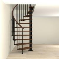 Escalier semi-colimaçon en acier noir Fontanot Tulip Ø 178 cm