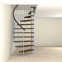 Escalier semi-colimaçon Fontanot Tulip en acier gris clair Ø 168 cm