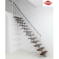 Escalier en hêtre massif teinte noyer et acier Minka Comfort