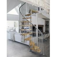 Escalier colimaçon en acier gris et hêtre massif Ø 100 cm