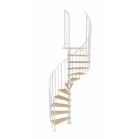 Escalier colimaçon en acier blanc et hêtre massif Atrium Novo Ø 100 cm