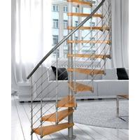 Escalier colimaçon en acier gris et hêtre Atrium Novo Type 4 Ø 100 cm