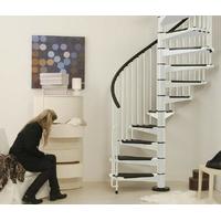 Escalier hélicoïdal Arkè Civik en acier blanc et noir Ø 160 cm