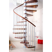 Escalier hélicoïdal Arkè Klan en acier gris métallisé et hêtre massif wengé Ø 160 cm