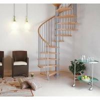 Escalier hélicoïdal Arkè Klan en acier gris métallisé et hêtre Ø 160 cm