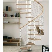 Escalier hélicoïdal Arkè Kloé en acier blanc et hêtre Ø 160 cm