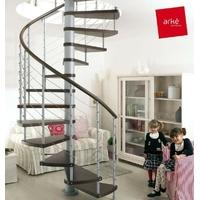 Escalier hélicoïdal Arkè Kloé en acier gris métallisé et hêtre Ø 160 cm
