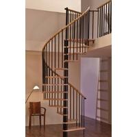 Escalier hélicoïdal Minka Spiral Decor en acier noir et hêtre massif Ø 160 cm