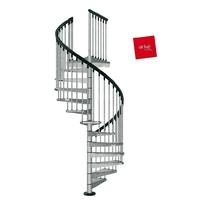 Escalier hélicoïdal extérieur Arkè Civik Zink en acier galvanisé Ø 120 cm