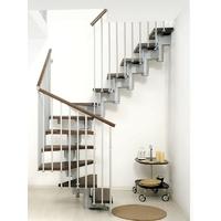 Escalier double quart-tournant Arkè Kompact en acier et hêtre massif