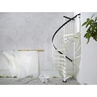 Escalier extérieur en colimaçon Fontanot Sky 030 en acier galvanisé blanc Ø 140 cm