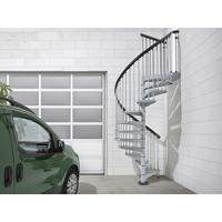 Escalier extérieur en colimaçon en acier galvanisé gris Fontanot Sky 030 Ø 120 cm