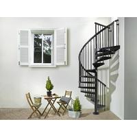 Escalier en colimaçon extérieur Sky 030 en acier galvanisé noir Ø 160 cm