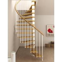 Escalier semi-hélicoïdal en acier blanc et hêtre Fontanot Tulip 168 cm