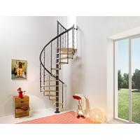 Escalier en colimaçon en acier et hêtre Fontanot Nice Line Ø 130 cm