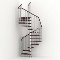 Escalier en colimaçon carré en acier et hêtre Fontanot Friend Q Ø 118 cm