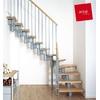 Escalier quart-tournant Arkè Kompact en métal et hêtre massif