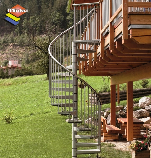 Escalier h lico dal ext rieur minka en acier galvanis for Prix escalier exterieur en acier galvanise