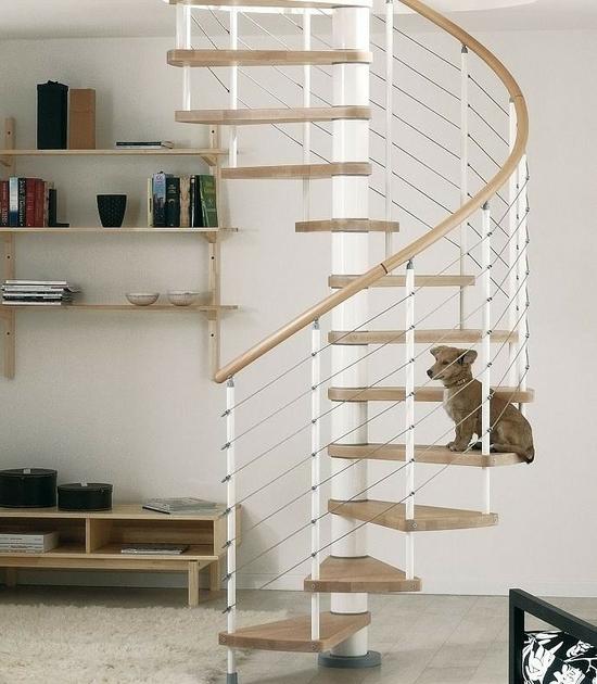 Escalier h lico dal ark klo en acier blanc et h tre 140 cm - Escalier helicoidal acier ...