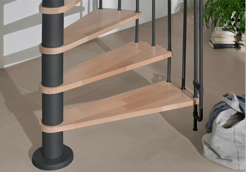 Escalier hélicoïdal Treppen Bordeaux acier noir hêtre Ø 140 cm